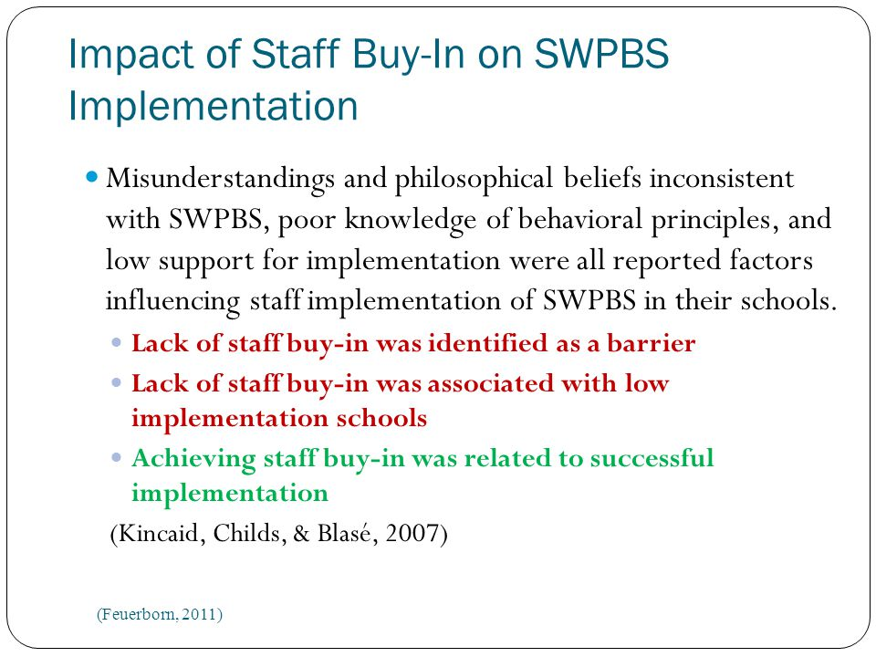 Impact of Staff Buy-In on SWPBS Implementation Misunderstandings and philosophical beliefs inconsistent with SWPBS, poor knowledge of behavioral principles, and low support for implementation were all reported factors influencing staff implementation of SWPBS in their schools.