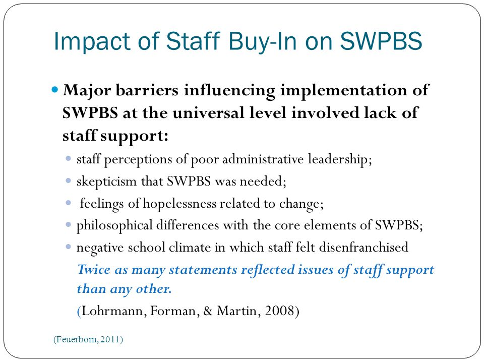 Impact of Staff Buy-In on SWPBS Team members reported that staff perceptions were one of the most pervasive barriers to implementation at the individual level.