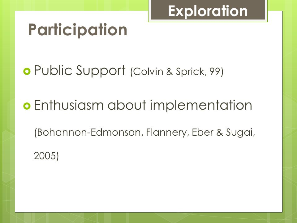 Participation  Public Support (Colvin & Sprick, 99)  Enthusiasm about implementation (Bohannon-Edmonson, Flannery, Eber & Sugai, 2005) Exploration