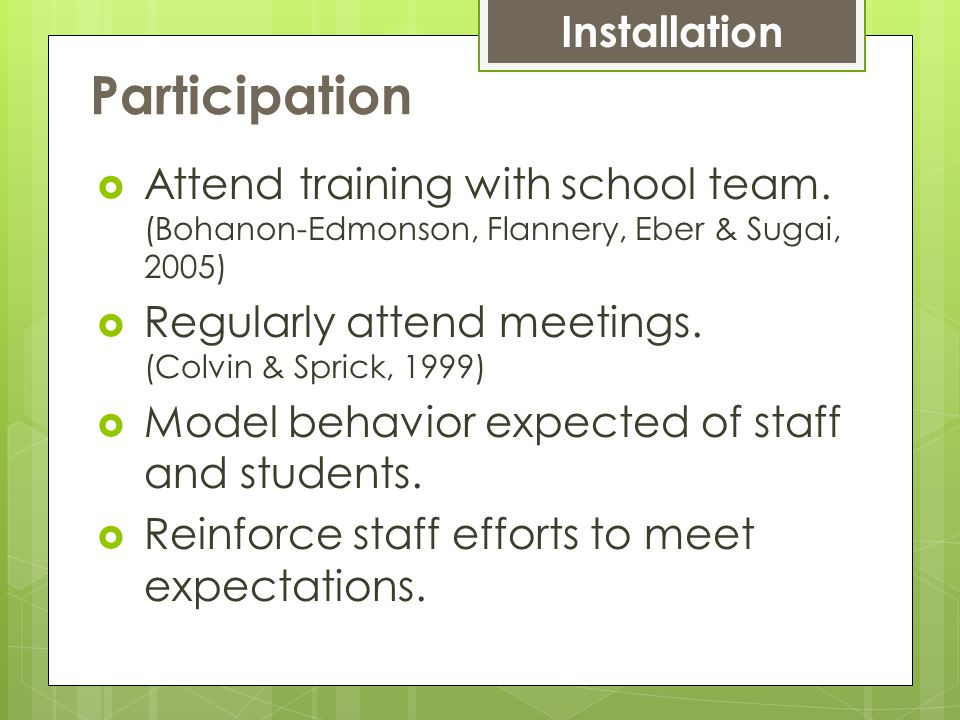 Participation  Attend training with school team.