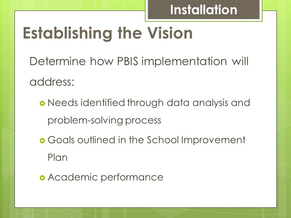 Establishing the Vision Determine how PBIS implementation will address:  Needs identified through data analysis and problem-solving process  Goals outlined in the School Improvement Plan  Academic performance Installation