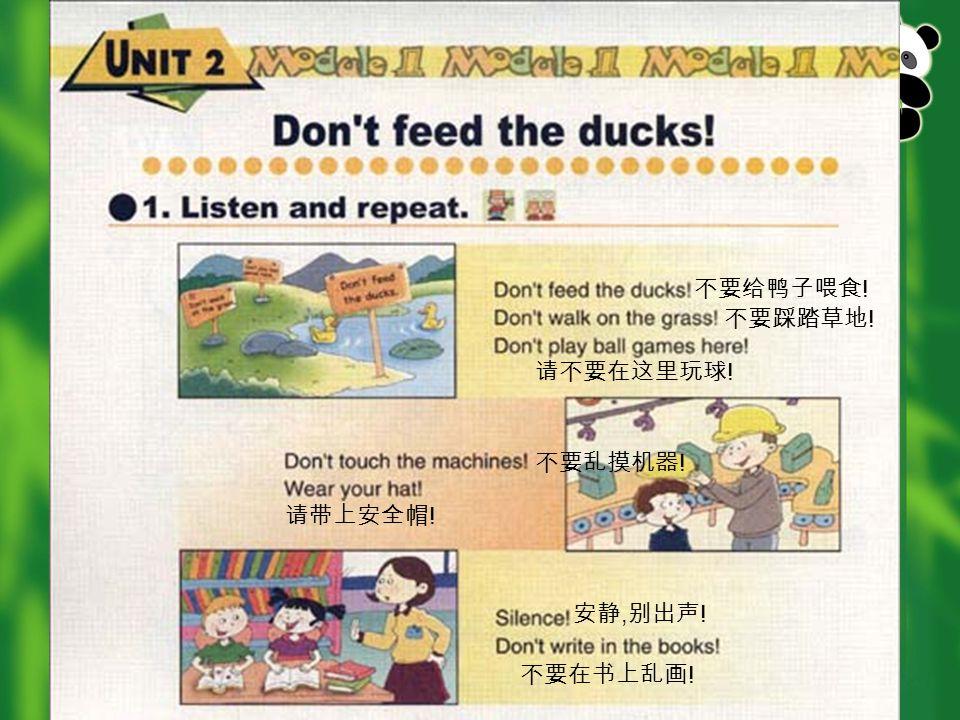不要给鸭子喂食 ! 不要踩踏草地 ! 请不要在这里玩球 ! 不要乱摸机器 ! 请带上安全帽 ! 安静, 别出声 ! 不要在书上乱画 !
