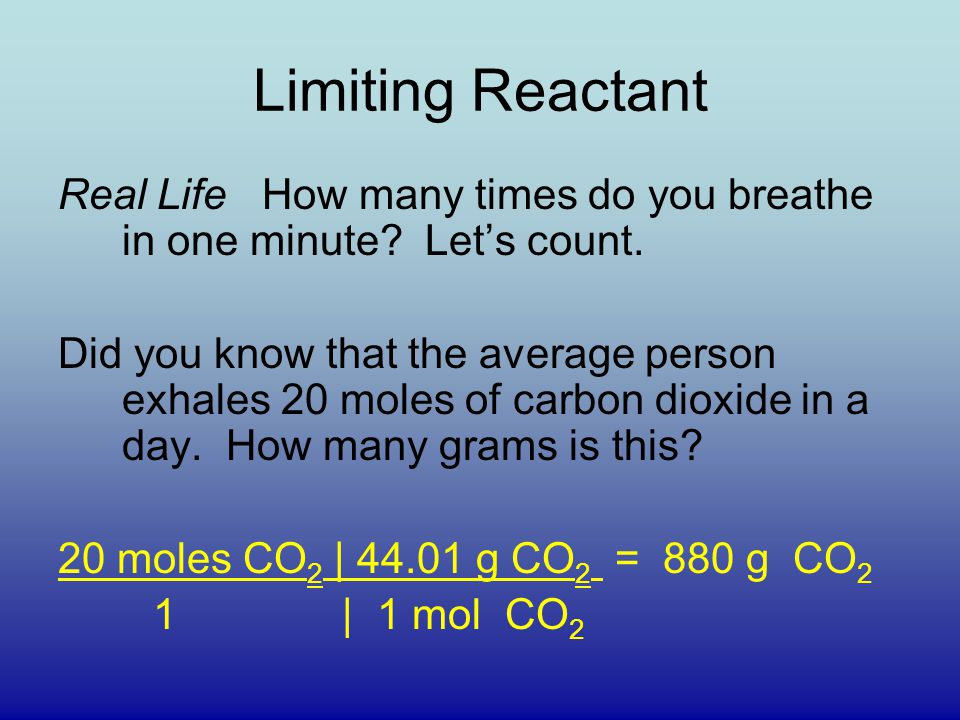 Limiting Reactant Real Life How many times do you breathe in one minute.