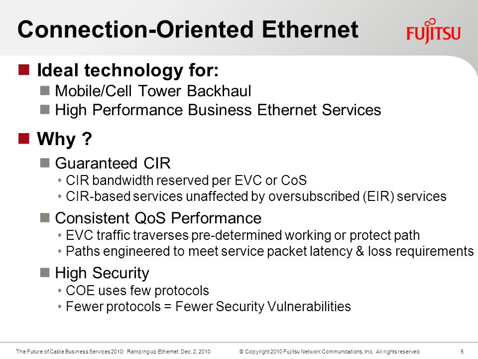 The Future of Cable Business Services 2010: Ramping up Ethernet: Dec.