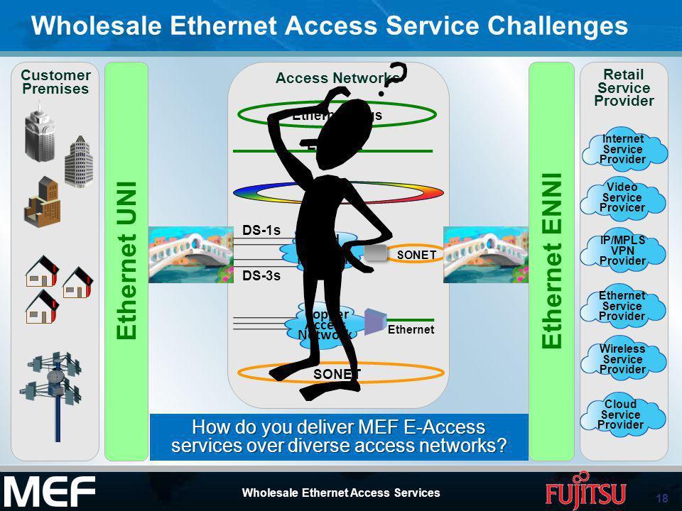 18 Wholesale Ethernet Access Services Wholesale Ethernet Access Service Challenges Ethernet ENNI Ethernet UNI Video Service Provicer Ethernet Service