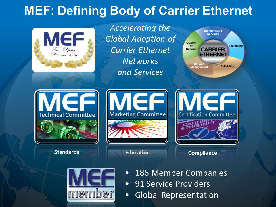 4 Wholesale Ethernet Access Services Education Standards Compliance Accelerating the Global Adoption of Carrier Ethernet Networks and Services MEF: Defining Body of Carrier Ethernet 186 Member Companies 91 Service Providers Global Representation