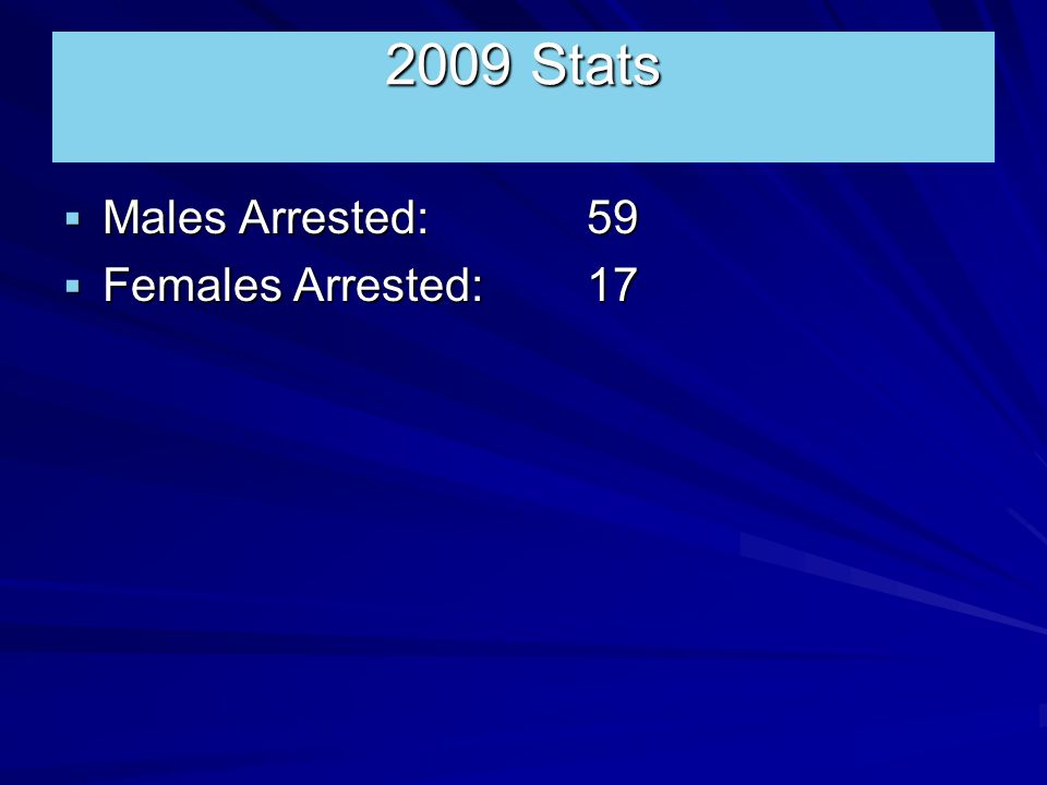 2009 Stats  Males Arrested: 59  Females Arrested:17