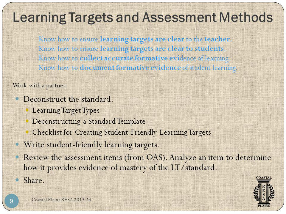 Learning Targets and Assessment Methods Coastal Plains RESA 2013-14 9 Deconstruct the standard. Learning Target Types Deconstructing a Standard Templa