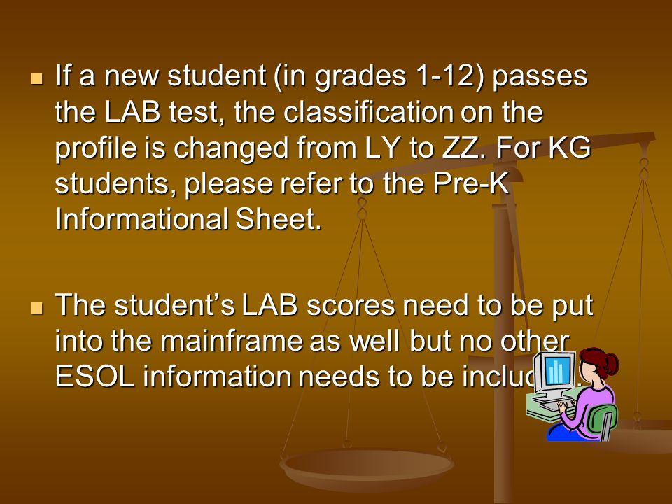 The student must receive a score of 33% or above on all of the subtests in order to show proficiency and not be classified as ESOL (or LY). The studen