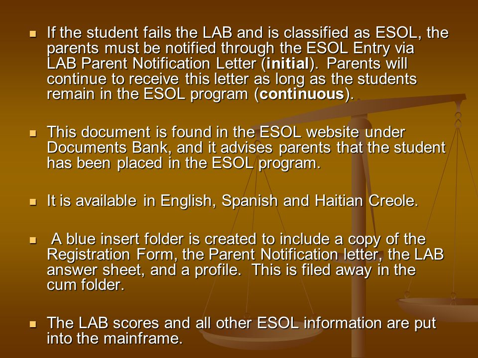 If a new student (in grades 1-12) passes the LAB test, the classification on the profile is changed from LY to ZZ. For KG students, please refer to th