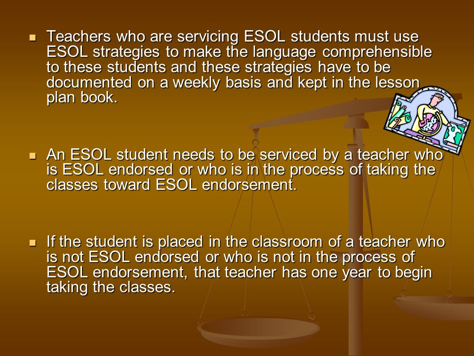 If the student fails the LAB and is classified as ESOL, the parents must be notified through the ESOL Entry via LAB Parent Notification Letter (initial).
