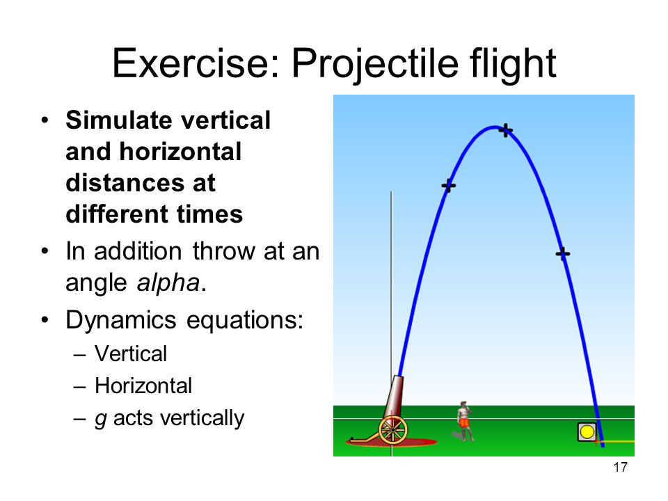 17 Exercise: Projectile flight Simulate vertical and horizontal distances at different times In addition throw at an angle alpha.