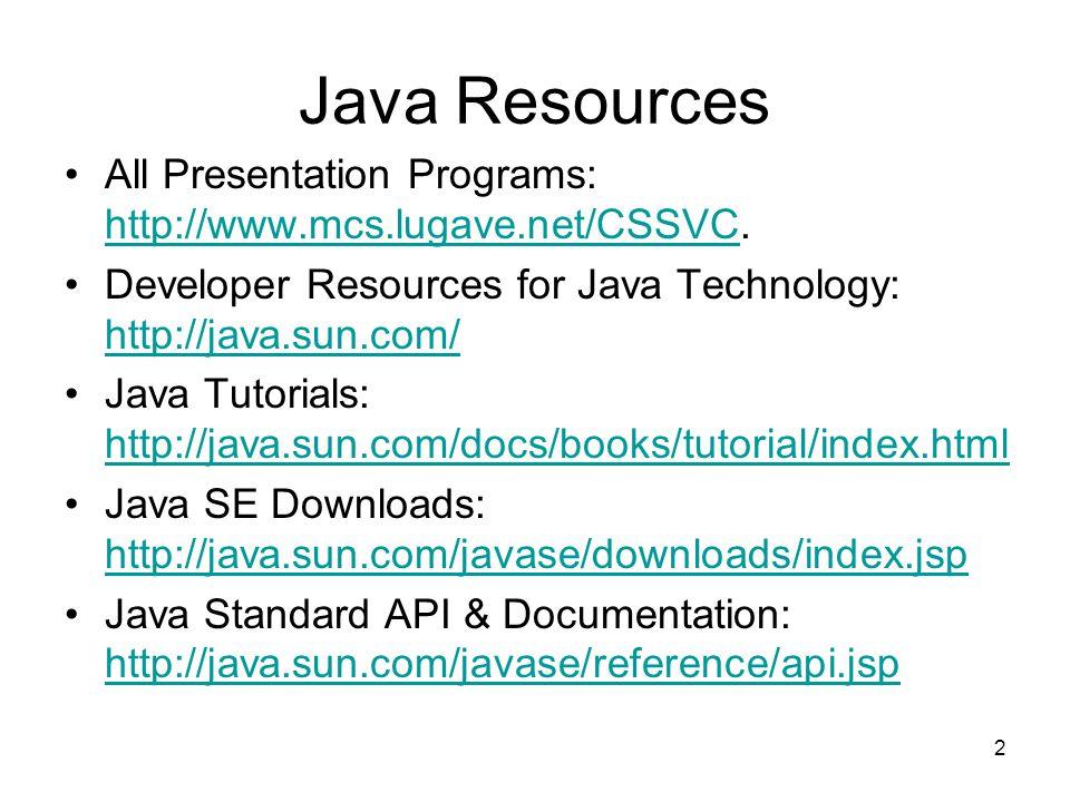 2 Java Resources All Presentation Programs: http://www.mcs.lugave.net/CSSVC.