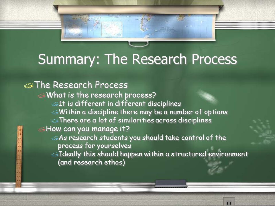 Summary: The Research Process / The Research Process / What is the research process.
