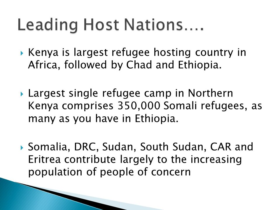  Kenya is largest refugee hosting country in Africa, followed by Chad and Ethiopia.  Largest single refugee camp in Northern Kenya comprises 350,000