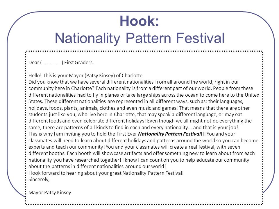 Hook: Nationality Pattern Festival Dear (_______) First Graders, Hello! This is your Mayor (Patsy Kinsey) of Charlotte. Did you know that we have seve