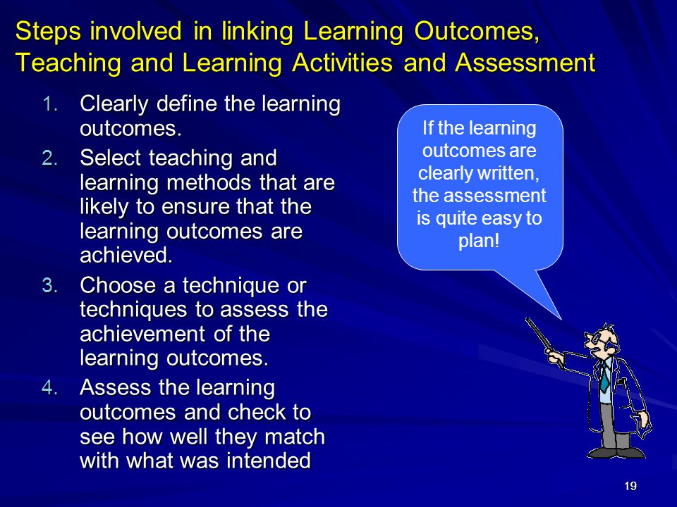 19 Steps involved in linking Learning Outcomes, Teaching and Learning Activities and Assessment 1. Clearly define the learning outcomes. 2. Select tea