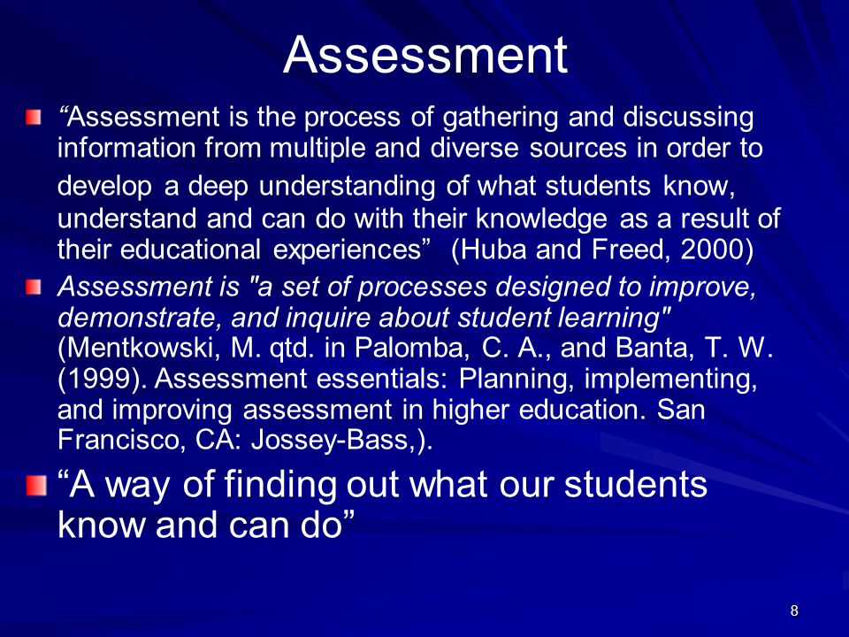 9 Assessment and Evaluation of Teaching Assessment of teaching means taking a measure of its effectiveness Evaluation involves measurement as part of a judgement, i.e.