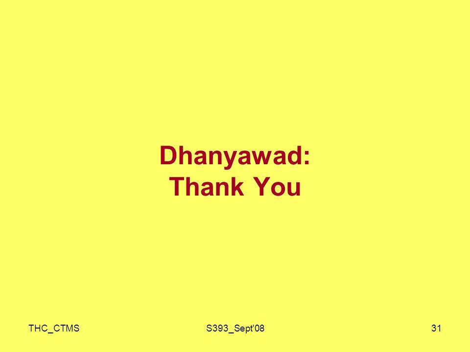 THC_CTMSS393_Sept 0831 Dhanyawad: Thank You