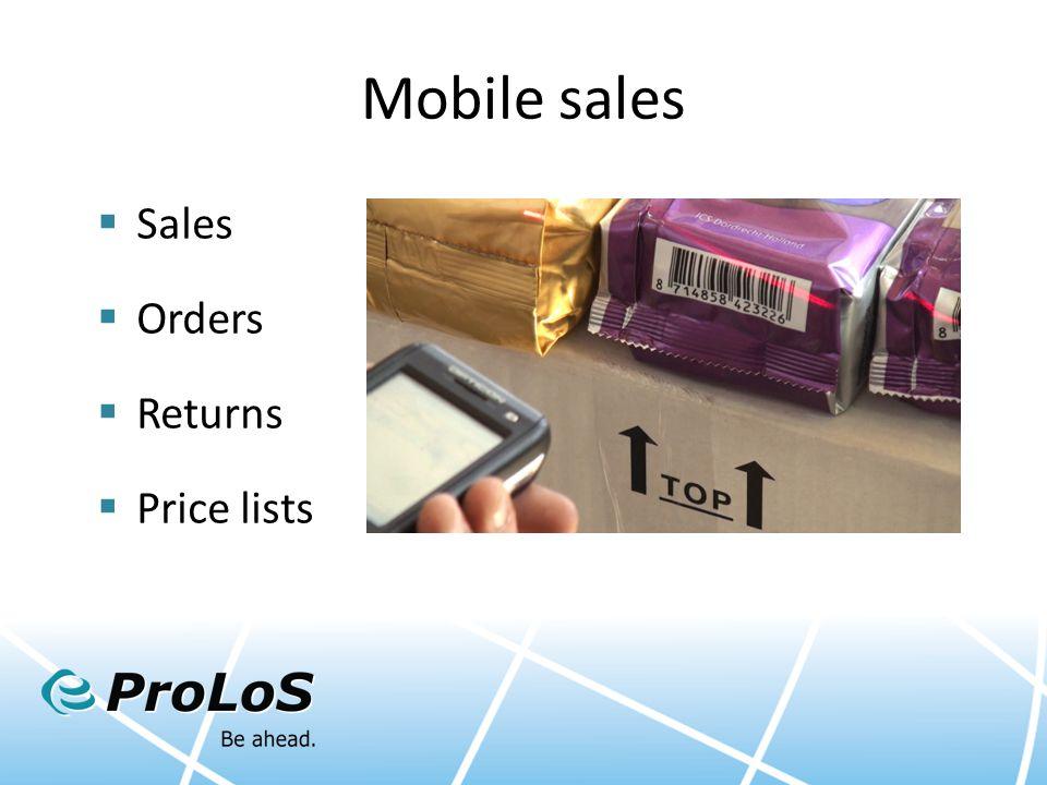 Mobile sales  Sales  Orders  Returns  Price lists