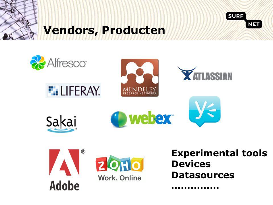 Vendors, Producten Experimental tools Devices Datasources ……………