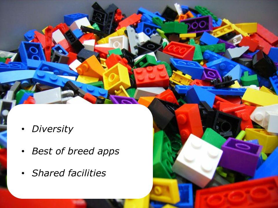 Diversity Best of breed apps Shared facilities