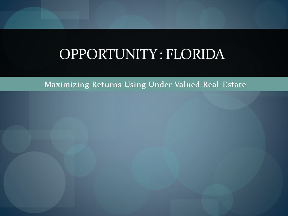 Executive Summary: We present an opportunity for purchasing Real-Estate that is in perhaps, a once-in-a-lifetime.