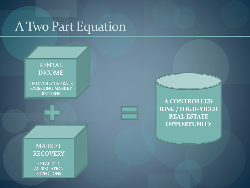 A Two Part Equation RENTAL INCOME MONTHLY CAP RATE EXCEEDING MARKET RETURNS MARKET RECOVERY REALISTIC APPRECIATION EXPECTIONS A CONTROLLED RISK / HIGH-YIELD REAL ESTATE OPPORTUNITY