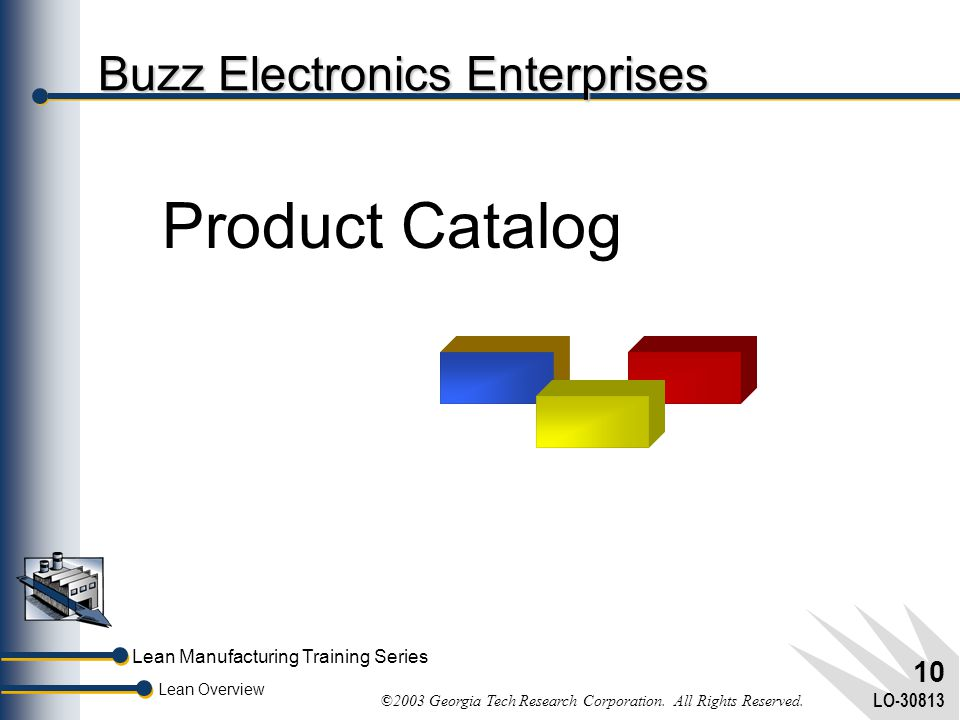 Lean Overview Lean Manufacturing Training Series ©2003 Georgia Tech Research Corporation. All Rights Reserved. LO-30813 9 Lean Overview and Simulation