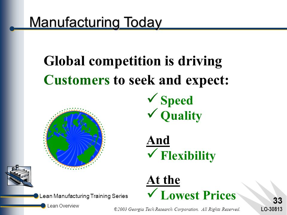 Lean Manufacturing Training Series Lean Overview ©2003 Georgia Tech Research Corporation. All Rights Reserved. LO-30813 32 Customer Requirements 1800'