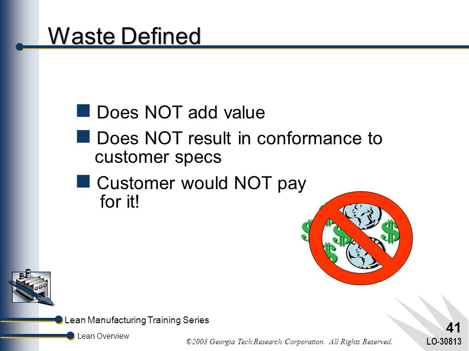 Lean Manufacturing Training Series Lean Overview ©2003 Georgia Tech Research Corporation. All Rights Reserved. LO-30813 40 What's Stopping Industry?