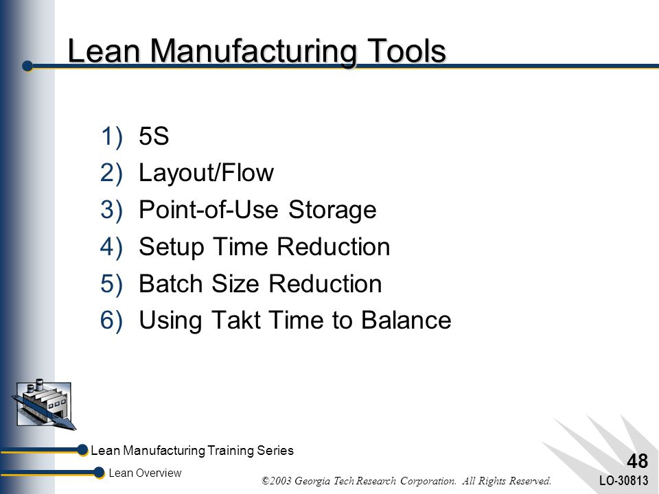Lean Manufacturing Training Series Lean Overview ©2003 Georgia Tech Research Corporation. All Rights Reserved. LO-30813 47 Lean Manufacturing Agenda 