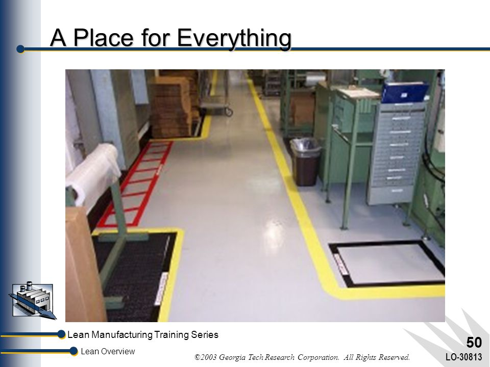 Lean Manufacturing Training Series Lean Overview ©2003 Georgia Tech Research Corporation. All Rights Reserved. LO-30813 49 5S A safe, clean, neat arra