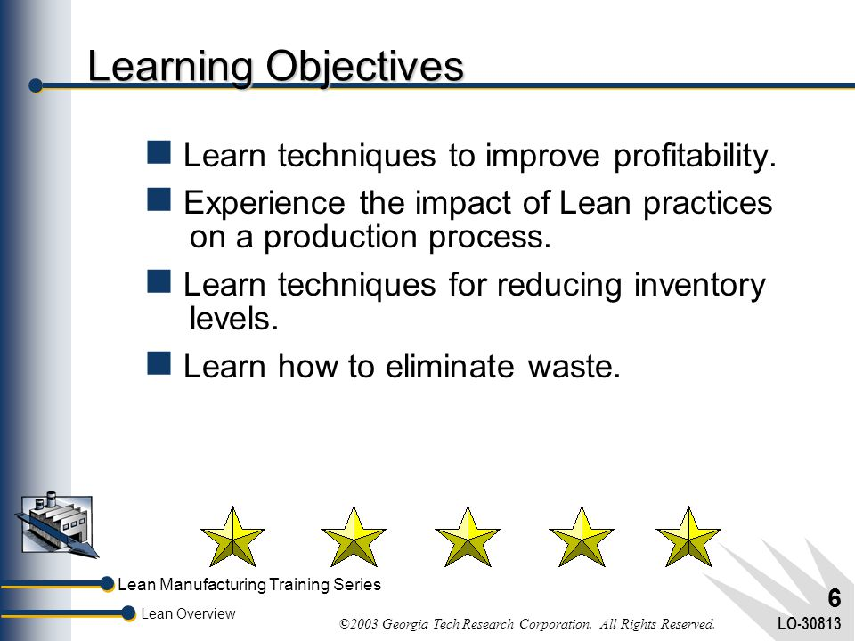 Lean Manufacturing Training Series Lean Overview ©2003 Georgia Tech Research Corporation. All Rights Reserved. LO-30813 5 Regional Field Office Networ
