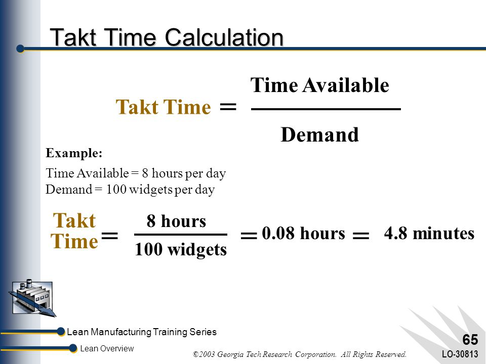 Lean Manufacturing Training Series Lean Overview ©2003 Georgia Tech Research Corporation. All Rights Reserved. LO-30813 64 Takt Time Speed at which a