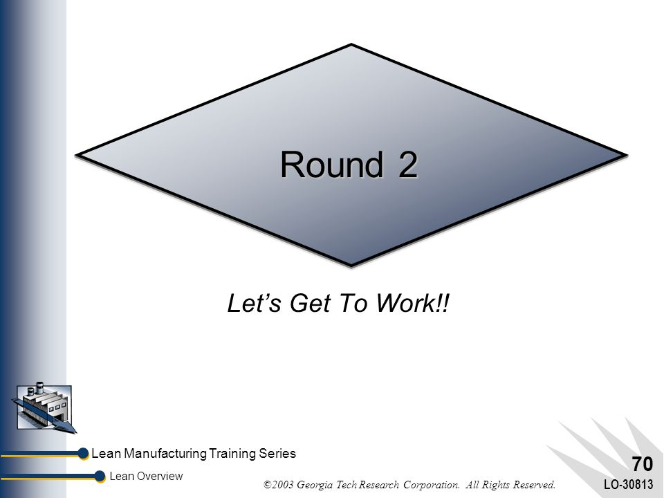 Lean Manufacturing Training Series Lean Overview ©2003 Georgia Tech Research Corporation. All Rights Reserved. LO-30813 69 Question (Cont'd)