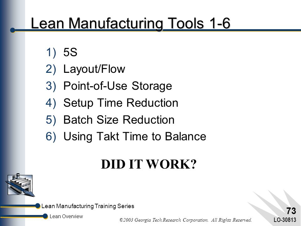 Lean Manufacturing Training Series Lean Overview ©2003 Georgia Tech Research Corporation. All Rights Reserved. LO-30813 72 Results