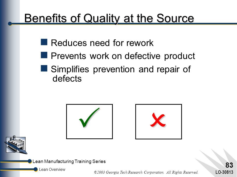 Lean Manufacturing Training Series Lean Overview ©2003 Georgia Tech Research Corporation. All Rights Reserved. LO-30813 82 Quality at the Source Place