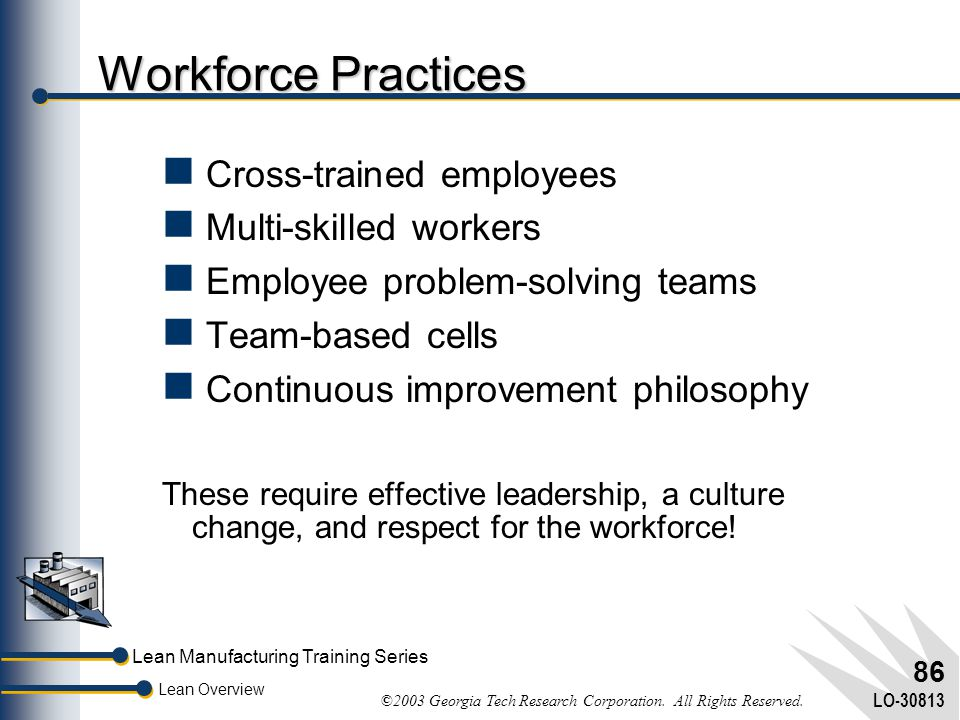 Lean Manufacturing Training Series Lean Overview ©2003 Georgia Tech Research Corporation. All Rights Reserved. LO-30813 85 Why the Emphasis on Standar