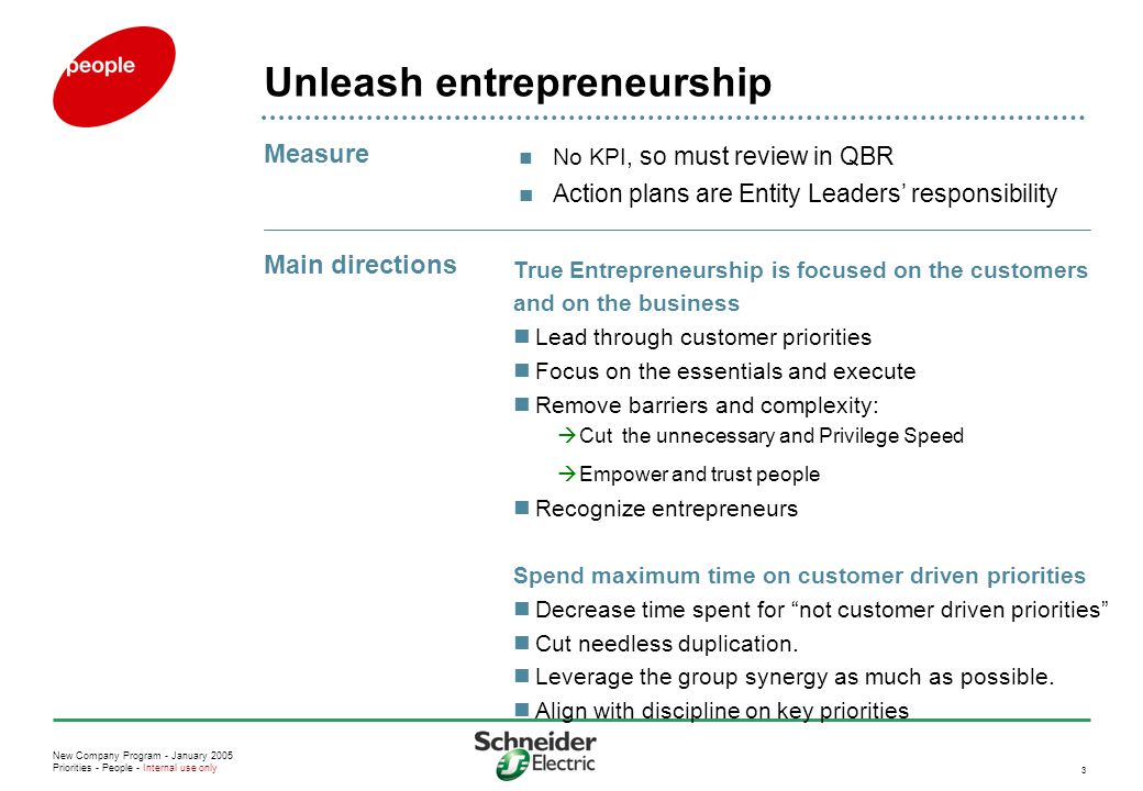 New Company Program - January 2005 Priorities - People - Internal use only 3 Unleash entrepreneurship No KPI, so must review in QBR Action plans are E