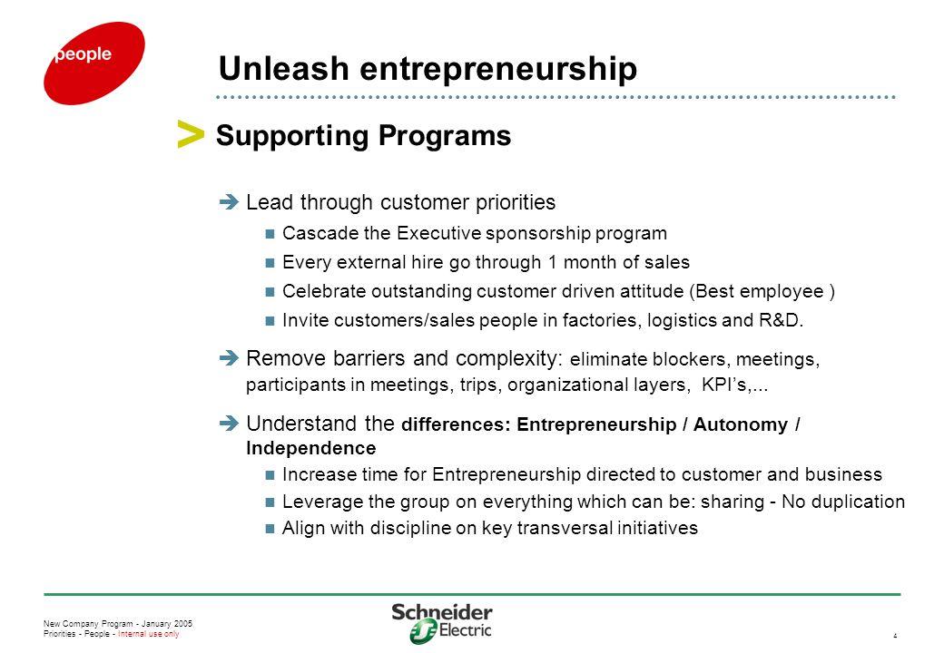 New Company Program - January 2005 Priorities - People - Internal use only 4 Unleash entrepreneurship  Lead through customer priorities Cascade the E