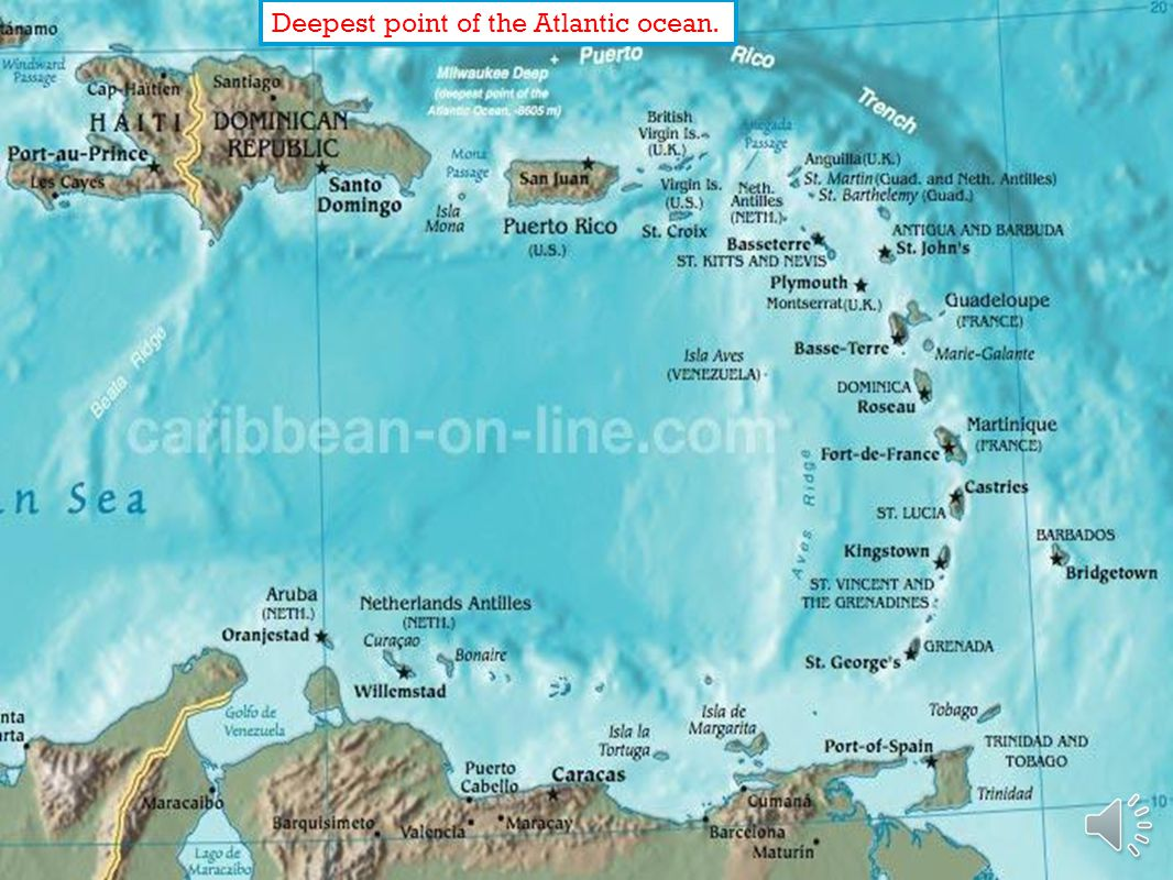 Deepest point of the Atlantic ocean.
