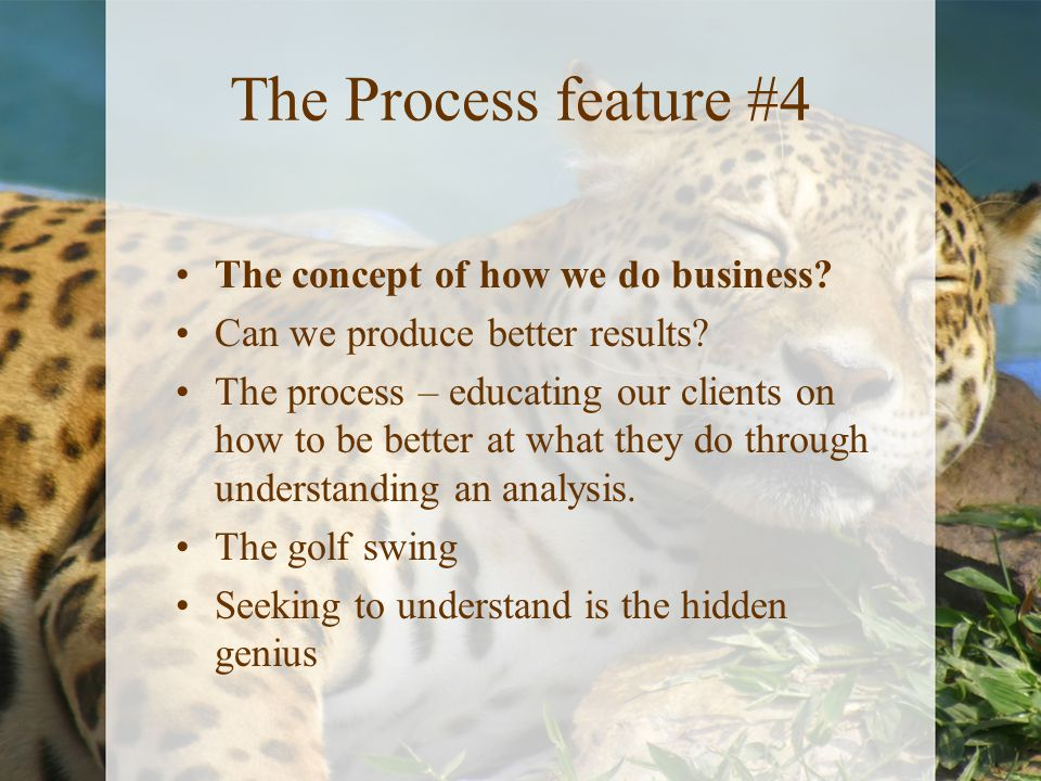 The Process feature #4 The concept of how we do business? Can we produce better results? The process – educating our clients on how to be better at wh