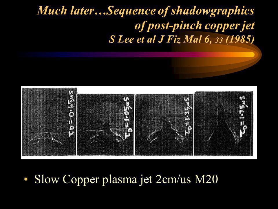 Shadowgraphs of PF Pinch- (Micro-nova) M Shahid Rafique PhD Thesis NTU/NIE Singapore 2000 Highest post-pinch axial shock waves speed ~50cm/us M500 Hig