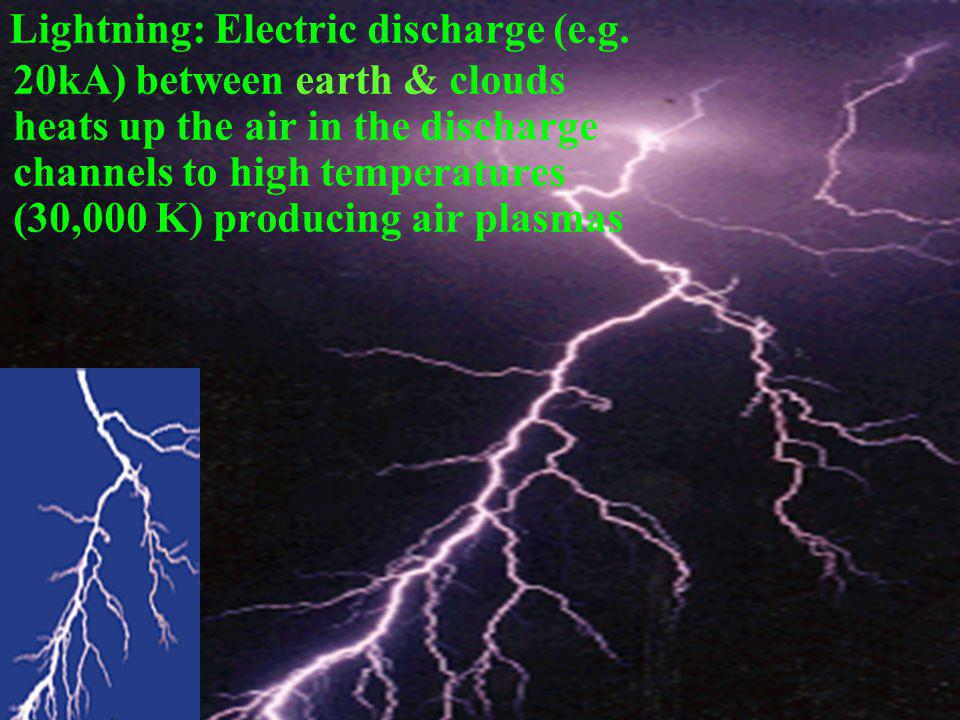 Lightning: Electric discharge (e.g.