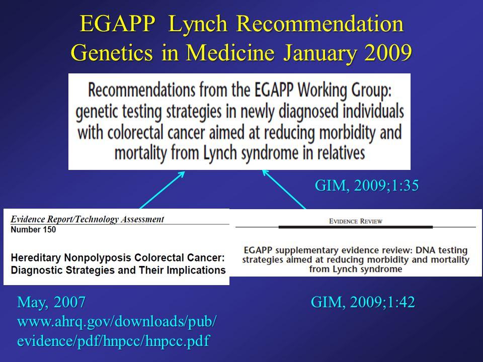 EGAPP Lynch Recommendation Genetics in Medicine January 2009 May, 2007 www.ahrq.gov/downloads/pub/ evidence/pdf/hnpcc/hnpcc.pdf GIM, 2009;1:42 GIM, 20