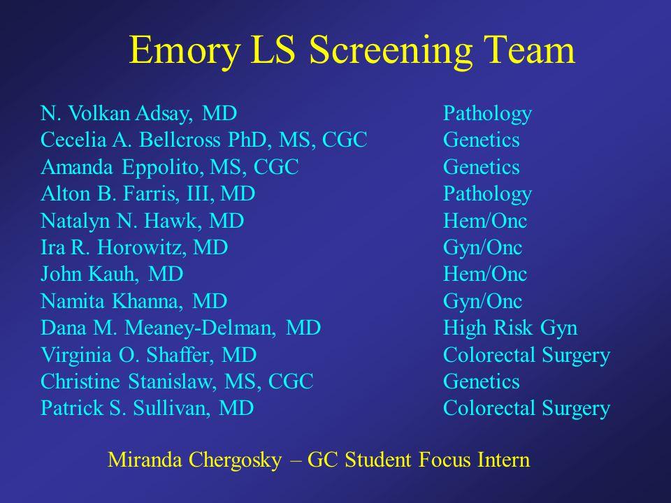 Emory LS Screening Team N. Volkan Adsay, MD Pathology Cecelia A. Bellcross PhD, MS, CGCGenetics Amanda Eppolito, MS, CGCGenetics Alton B. Farris, III,