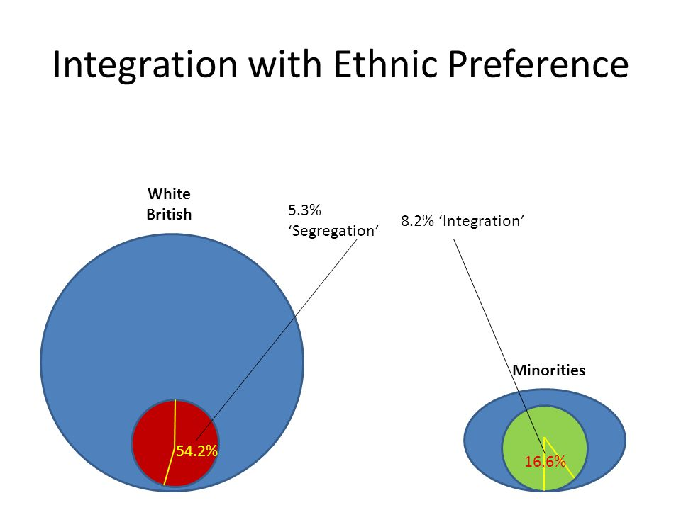 Integration with Ethnic Preference 54.2% 16.6% 5.3% 'Segregation' 8.2% 'Integration' White British Minorities