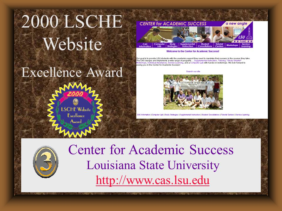 2000 LSCHE Website Excellence Award Academic Learning Centers Union County College, NJ http://www.ucc.edu/academiclearning