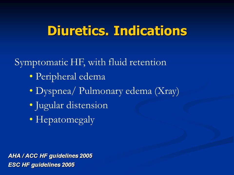 Symptomatic HF, with fluid retention Peripheral edema Dyspnea/ Pulmonary edema (Xray) Jugular distension Hepatomegaly AHA / ACC HF guidelines 2005 ESC